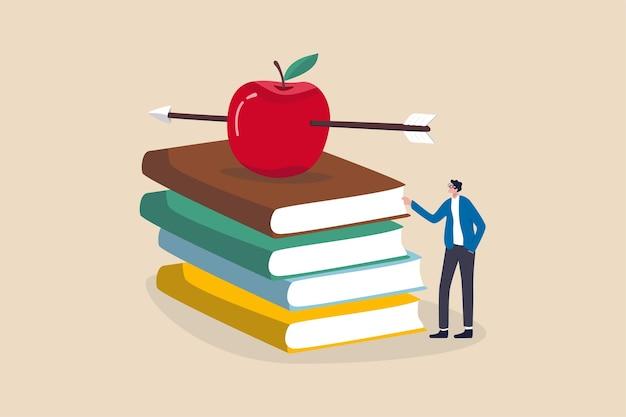 Conhecimento, educação, conceito acadêmico e bolsa, professor inteligente ou professor esperando para dar aula Vetor Premium