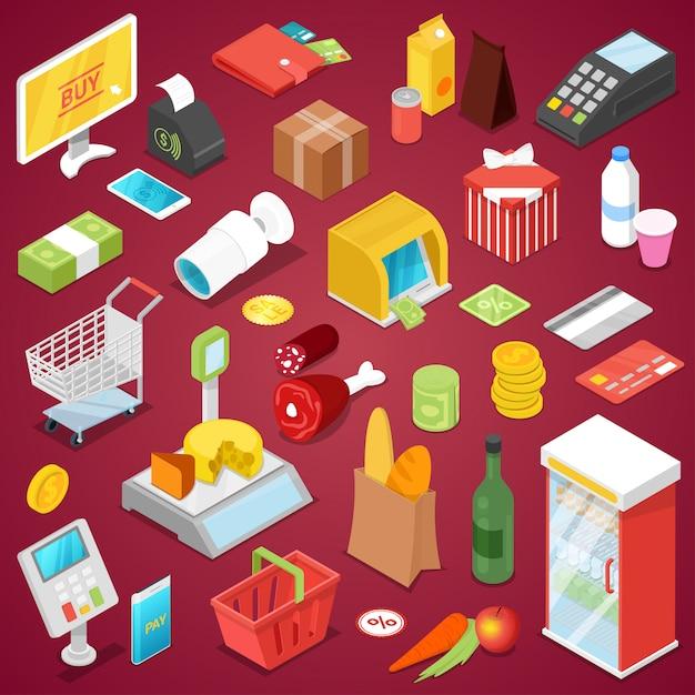 Conjunto 3d isométrico de compras de supermercado Vetor Premium