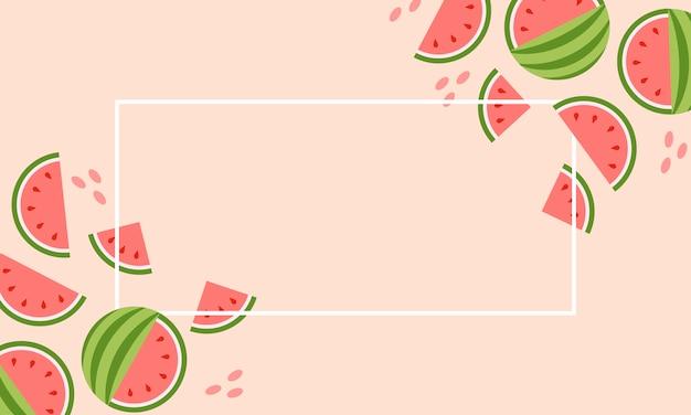 Conjunto abstrato com banner de melancia colorida verão venda em rosa Vetor Premium
