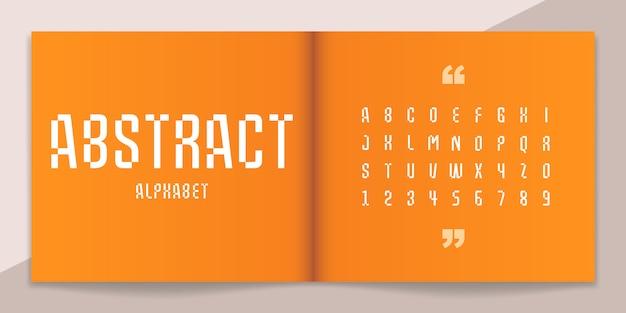 Conjunto abstrato de fontes e alfabeto. Vetor Premium
