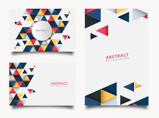 Conjunto abstrato de triângulo colorido Vetor Premium