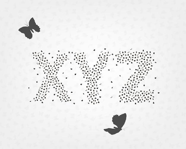 Conjunto alfabético de letras de borboletas e mariposas Vetor Premium
