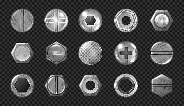 Conjunto antigo de parafusos e cabeças de pregos, parafusos de metal, rebites Vetor grátis