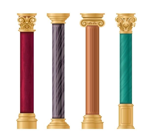 Conjunto arquitetônico de pilares. coluna de mármore clássica com pilar de ouro em diferentes estilos antigos Vetor Premium