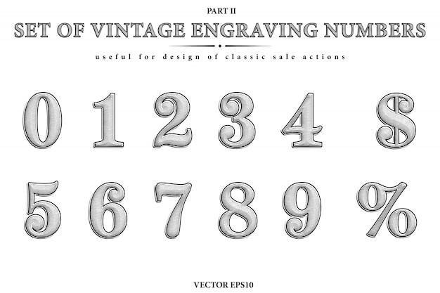 Conjunto artístico dos números de gravura vintage. figuras de vetor de 0 a 9, sybmol do dólar e sinal de porcentagem. Vetor Premium