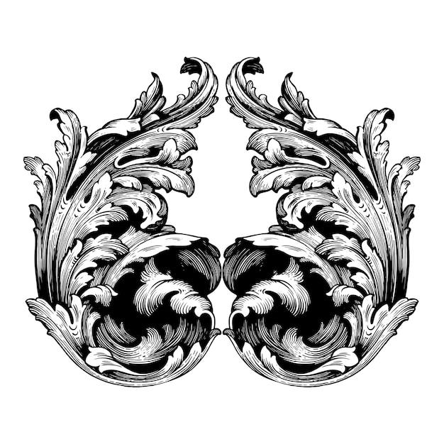 Conjunto barroco clássico de elementos vintage. Vetor Premium