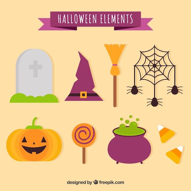 Conjunto básico de elementos do dia das bruxas Vetor grátis