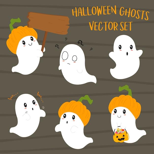 Conjunto bonito de fantasmas de halloween Vetor Premium