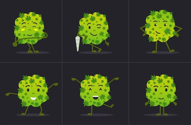 Conjunto bonito sorridente maconha maconha bud personagem de desenho animado em pé em diferentes poses maconha medicinal drogas consumo conceito horizontal plana Vetor Premium