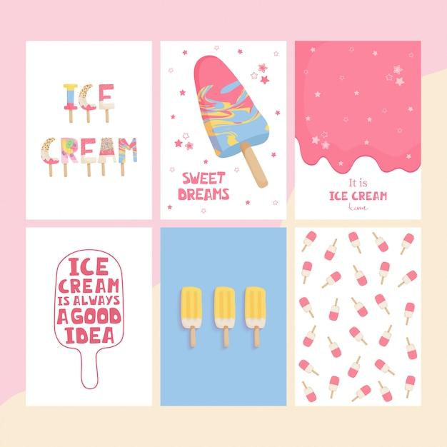 Conjunto bonitos cartazes com letras manuscritas de sorvete final estrelas Vetor Premium