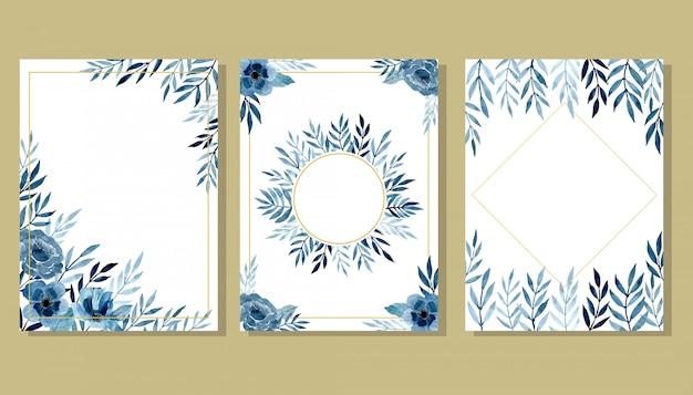 Conjunto cartão de convite azul com aquarela floral Vetor Premium