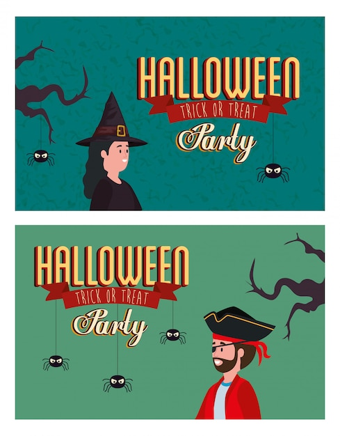 Conjunto cartaz da festa de halloween com disfarçado Vetor grátis