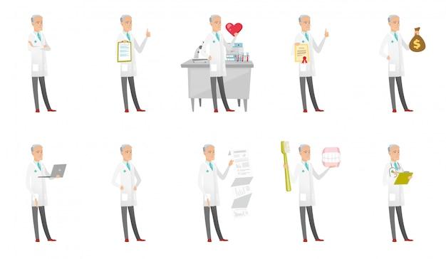 Conjunto caucasiano sênior de médico. Vetor Premium