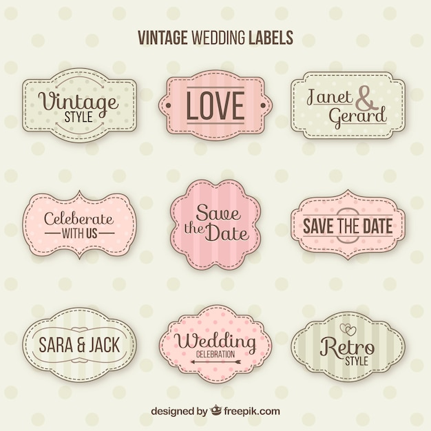 Conjunto clássico de emblemas de casamento do vintage Vetor grátis