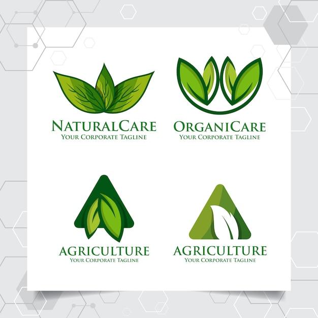 Conjunto coleção de design de modelo de logotipo de agricultura Vetor Premium