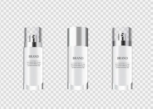 Conjunto, coleção de embalagens de cosméticos de vidro. Vetor Premium