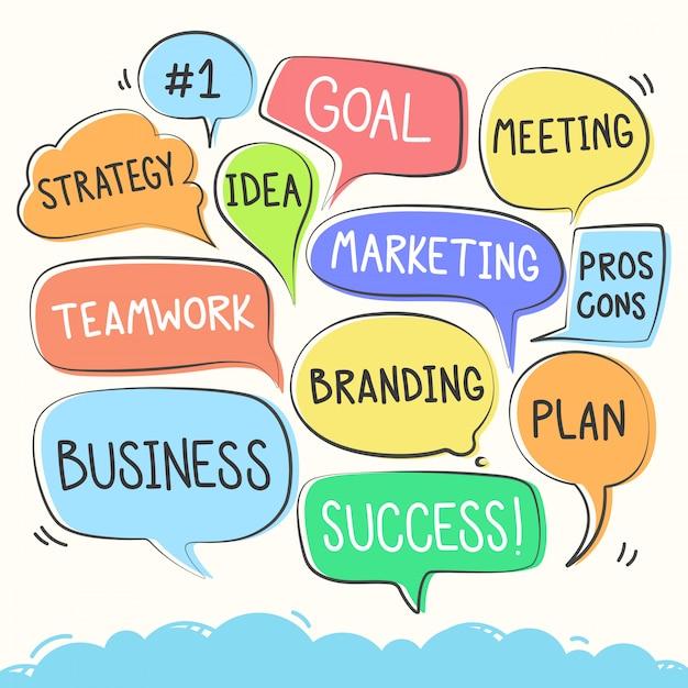 Conjunto colorido da bolha do discurso de negócios. Vetor Premium