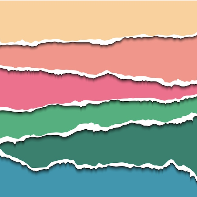 Conjunto colorido de banners de papel rasgado para o site. papel rasgado com bordas ásperas para scrapbooking e design de artesanato. Vetor Premium