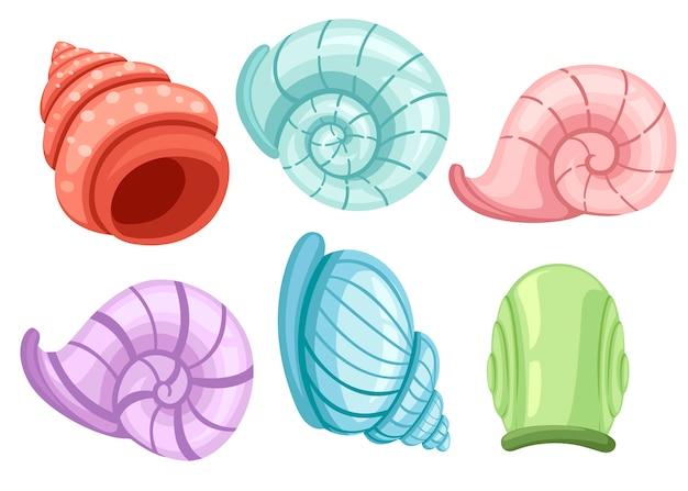 Conjunto colorido de conchas de caracóis. diferentes formas e cores. achados arqueológicos. ilustração em fundo branco Vetor Premium