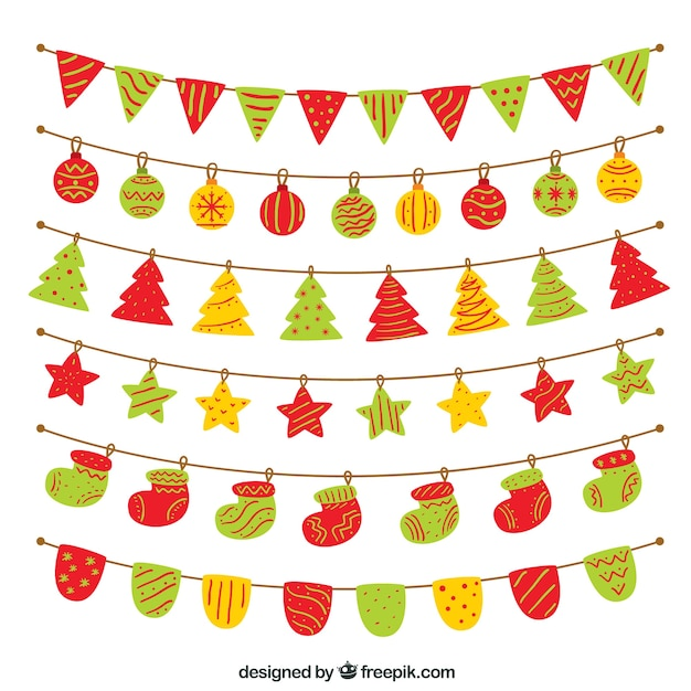 Conjunto colorido de decoração de natal Vetor grátis
