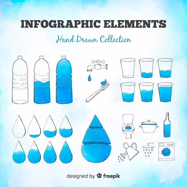 Conjunto colorido de elementos de infográficos mão desenhada Vetor grátis