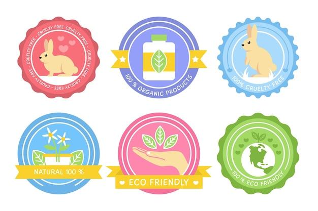 Conjunto colorido de emblemas de crueldade contra animais Vetor grátis