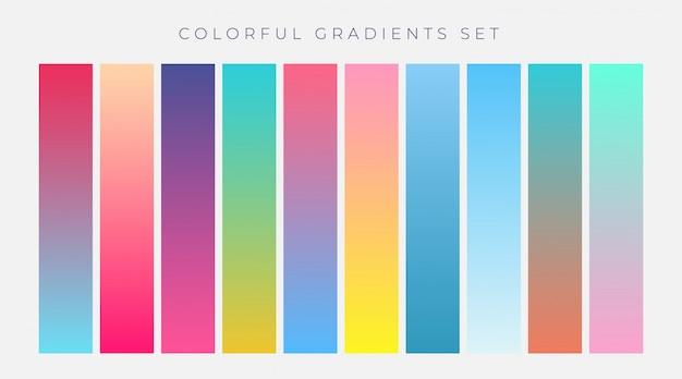 Conjunto colorido de gradientes vibrantes ilustração vetorial Vetor grátis