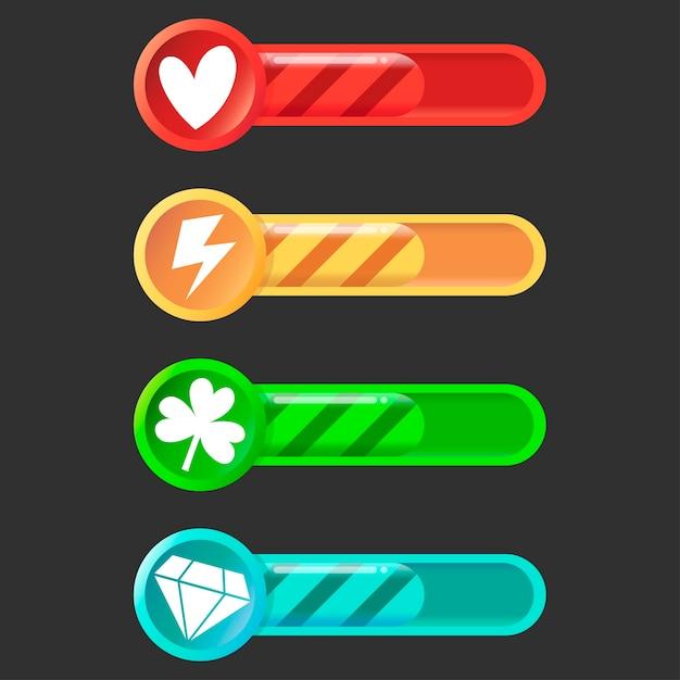 Conjunto colorido de ícones de status, progresso das barras de carregamento Vetor Premium
