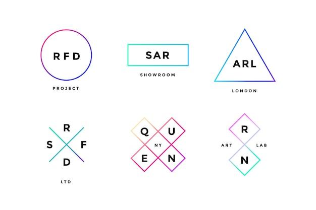 Conjunto colorido de logotipo simle em estilo minimalista moderno Vetor Premium