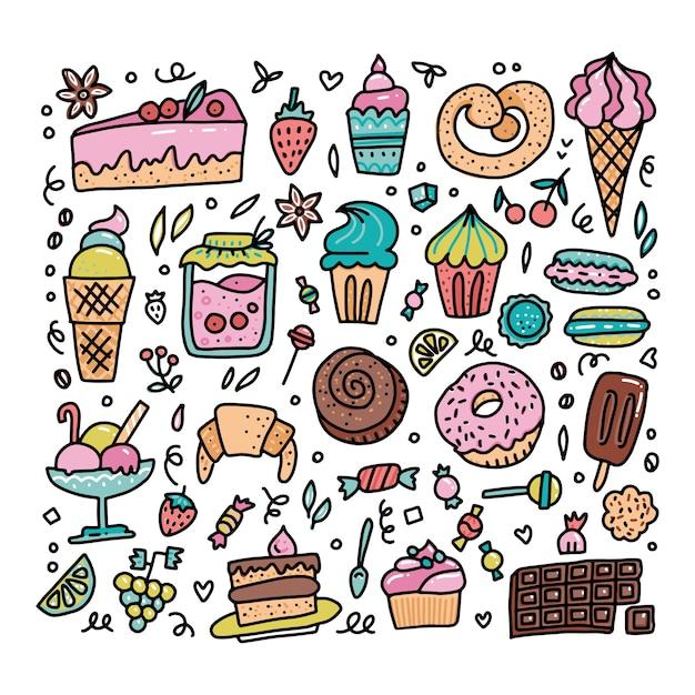Conjunto colorido de objetos de desenho animado comida doce doodle Vetor Premium