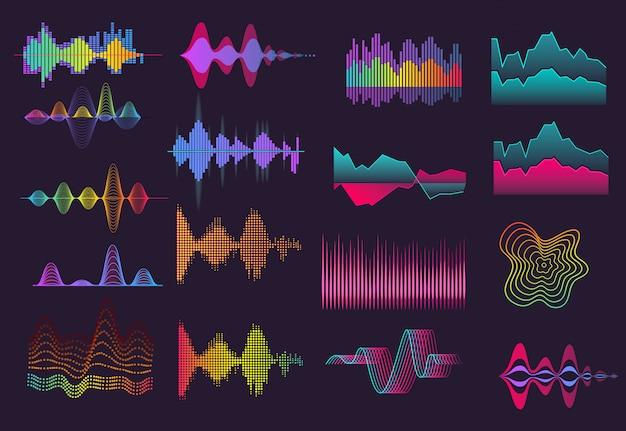 Conjunto colorido de ondas sonoras Vetor grátis