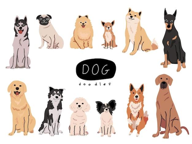 Conjunto colorido de raças de cão adoráveis ilustração desenhada à mão Vetor Premium