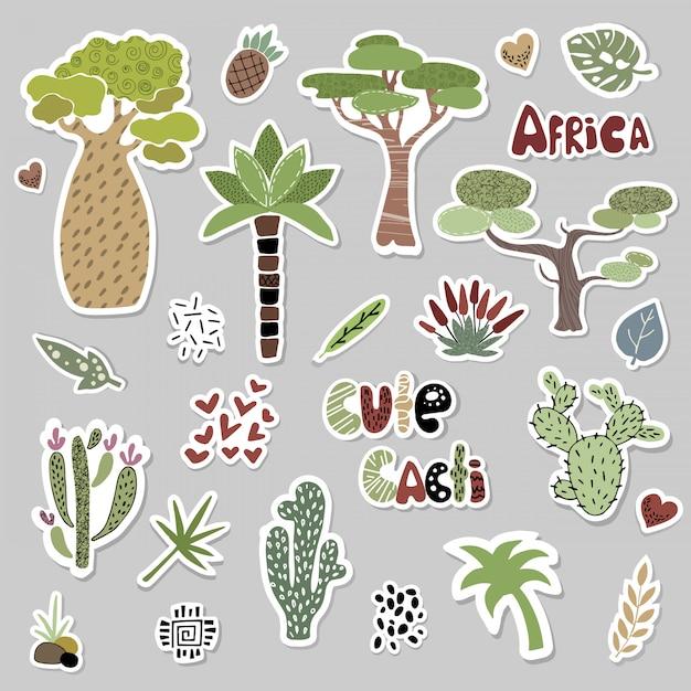 Conjunto com árvores e cactos africanos Vetor Premium