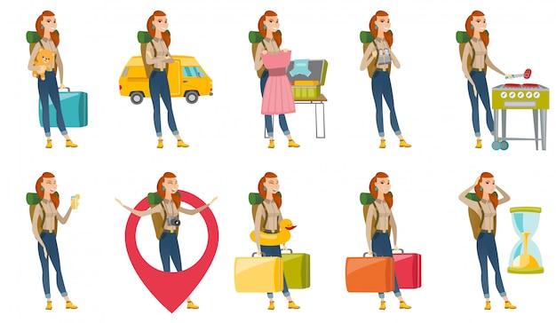 Conjunto com caracteres de viajante. Vetor Premium