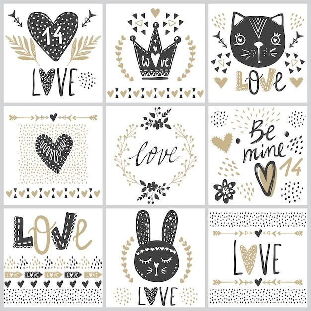 Conjunto com cartões no dia dos namorados. Vetor Premium