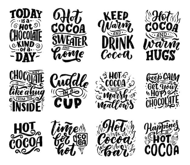 Conjunto com citações de letras sobre chocolate quente e chocolate quente para pôsteres ou gravuras Vetor Premium