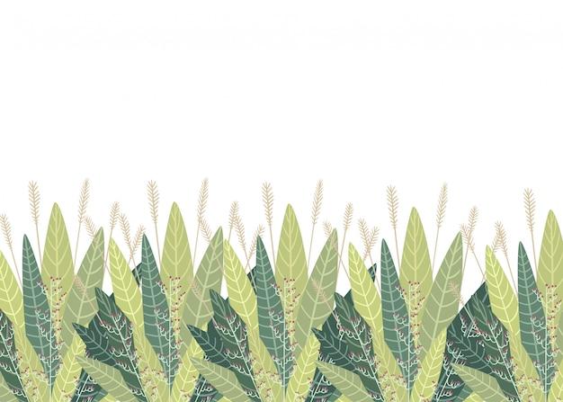 Conjunto com elementos florais e folhas. elementos decorativos para suas folhas redemoinhos ilustração estilo floral Vetor Premium