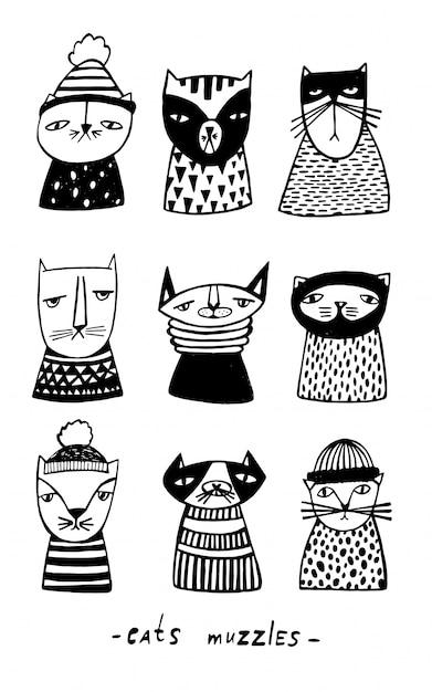 Conjunto com focinhos de gatos dos desenhos animados. coleção de mão desenhada doodle gatinho. ilustração vetorial Vetor Premium