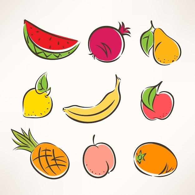 Conjunto com nove frutas estilizadas de cores diferentes Vetor Premium