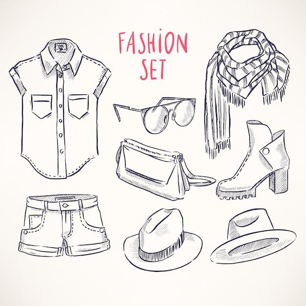 Conjunto com roupas e acessórios juvenis desenhados à mão Vetor Premium