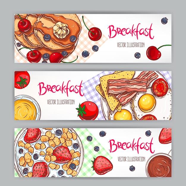 Conjunto com três banners de diferentes tipos de café da manhã. ilustração desenhada à mão Vetor Premium