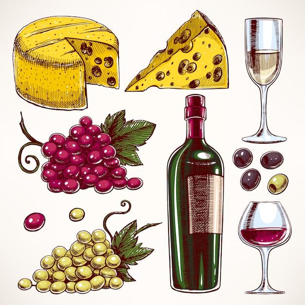 Conjunto com uma garrafa e copos de vinho, cacho de uvas e queijo Vetor Premium