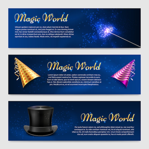 Conjunto com varinha mágica, cartola e chapéus de festa Vetor Premium