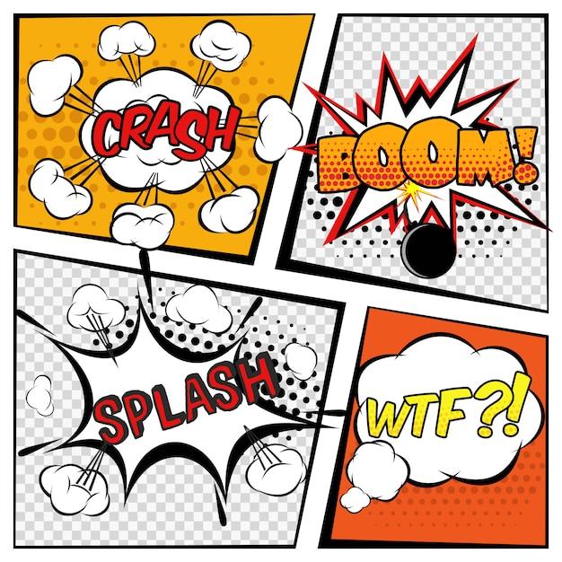 Conjunto comic boom Vetor grátis