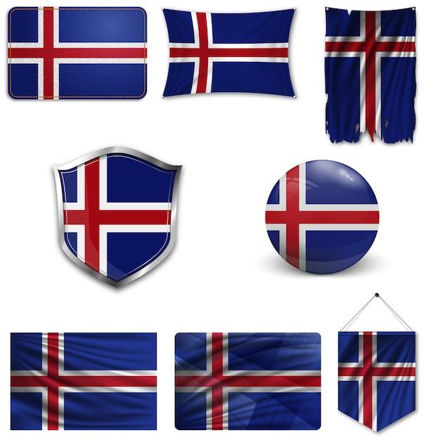 Conjunto da bandeira nacional da islândia Vetor Premium