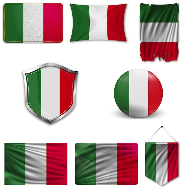 Conjunto da bandeira nacional da itália Vetor Premium
