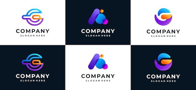 Conjunto da letra g inicial e uma coleção de logotipo Vetor Premium
