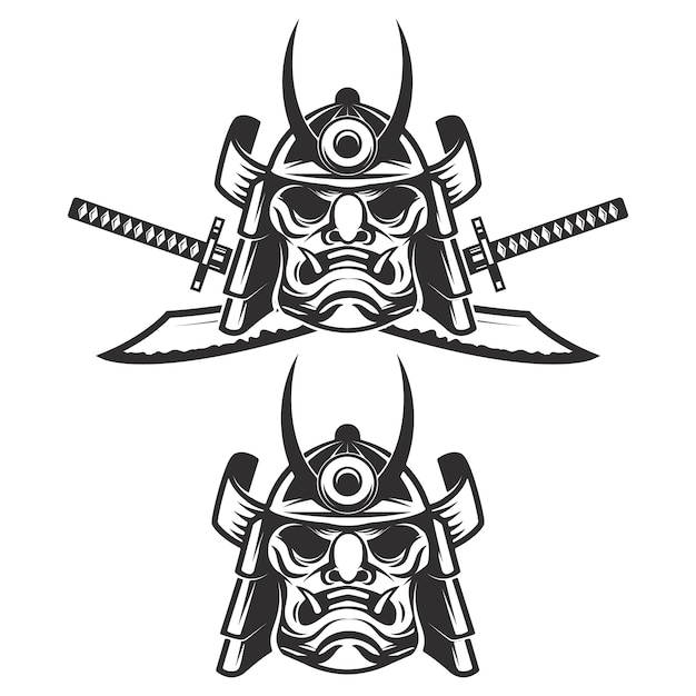 Conjunto da máscara de samurai com espadas cruzadas em fundo branco. elementos para, etiqueta, emblema, sinal, marca. ilustração. Vetor Premium
