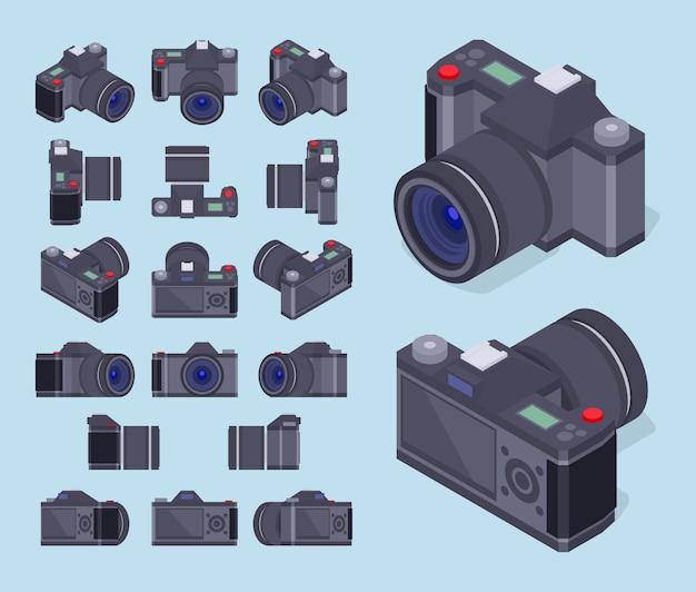 Conjunto das câmeras fotográficas isométricas Vetor Premium