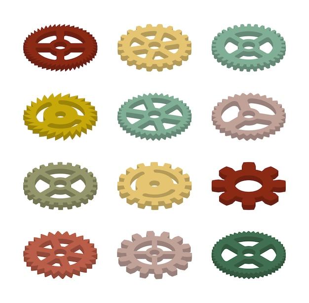 Conjunto das engrenagens coloridas isométricas Vetor Premium